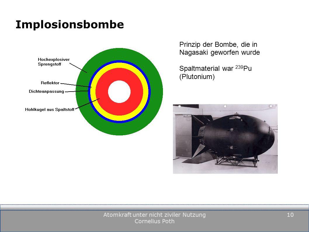 Atomkraft unter nicht ziviler Nutzung Cornelius Poth 10 Implosionsbombe Prinzip der Bombe, die in Nagasaki geworfen wurde Spaltmaterial war 239 Pu (Plutonium)