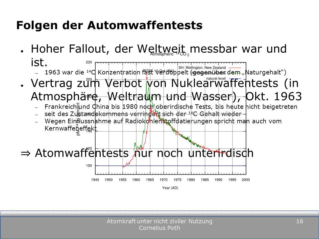 Atomkraft unter nicht ziviler Nutzung Cornelius Poth 16 Folgen der Automwaffentests ● Hoher Fallout, der Weltweit messbar war und ist.