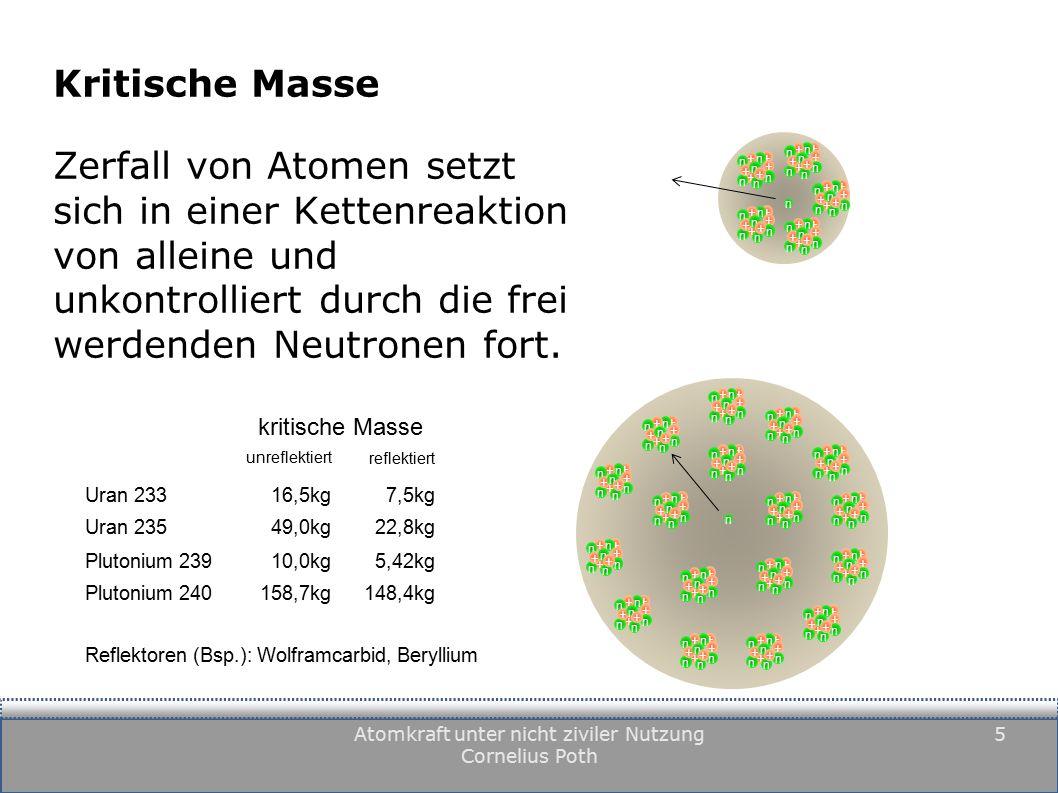 Atomkraft unter nicht ziviler Nutzung Cornelius Poth 5 Kritische Masse Zerfall von Atomen setzt sich in einer Kettenreaktion von alleine und unkontrolliert durch die frei werdenden Neutronen fort.