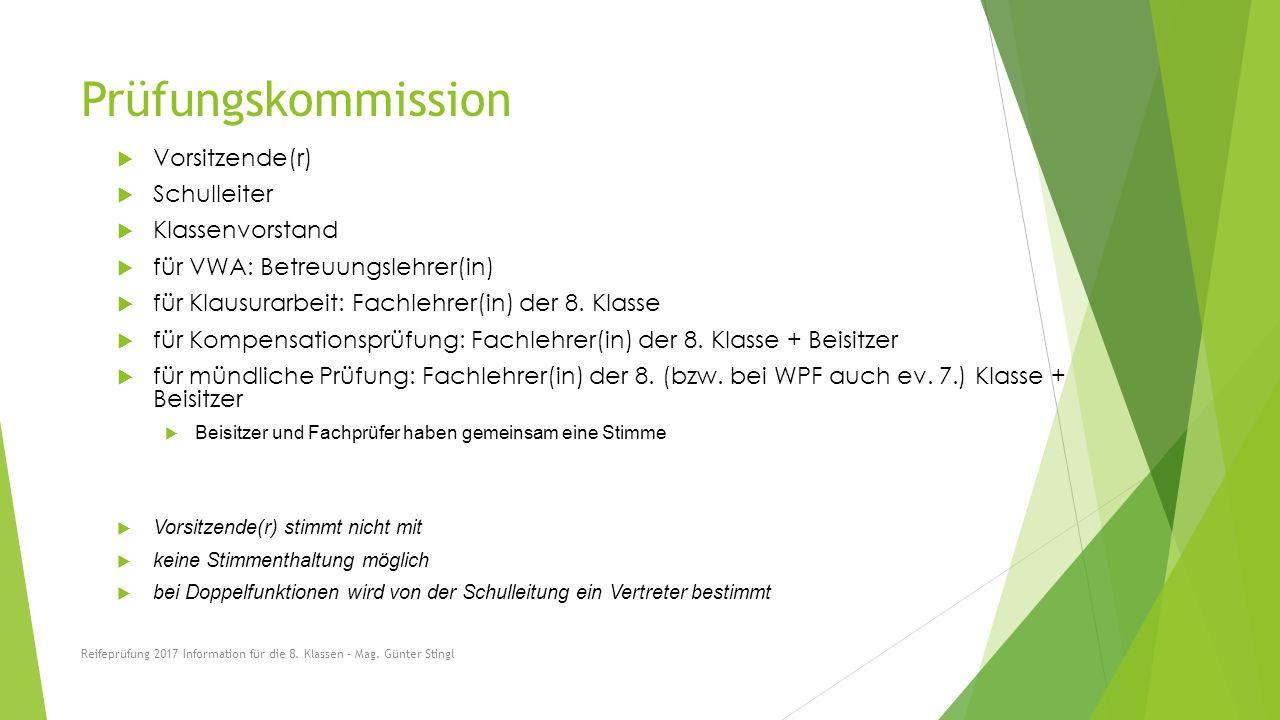 Prüfungskommission  Vorsitzende(r)  Schulleiter  Klassenvorstand  für VWA: Betreuungslehrer(in)  für Klausurarbeit: Fachlehrer(in) der 8.