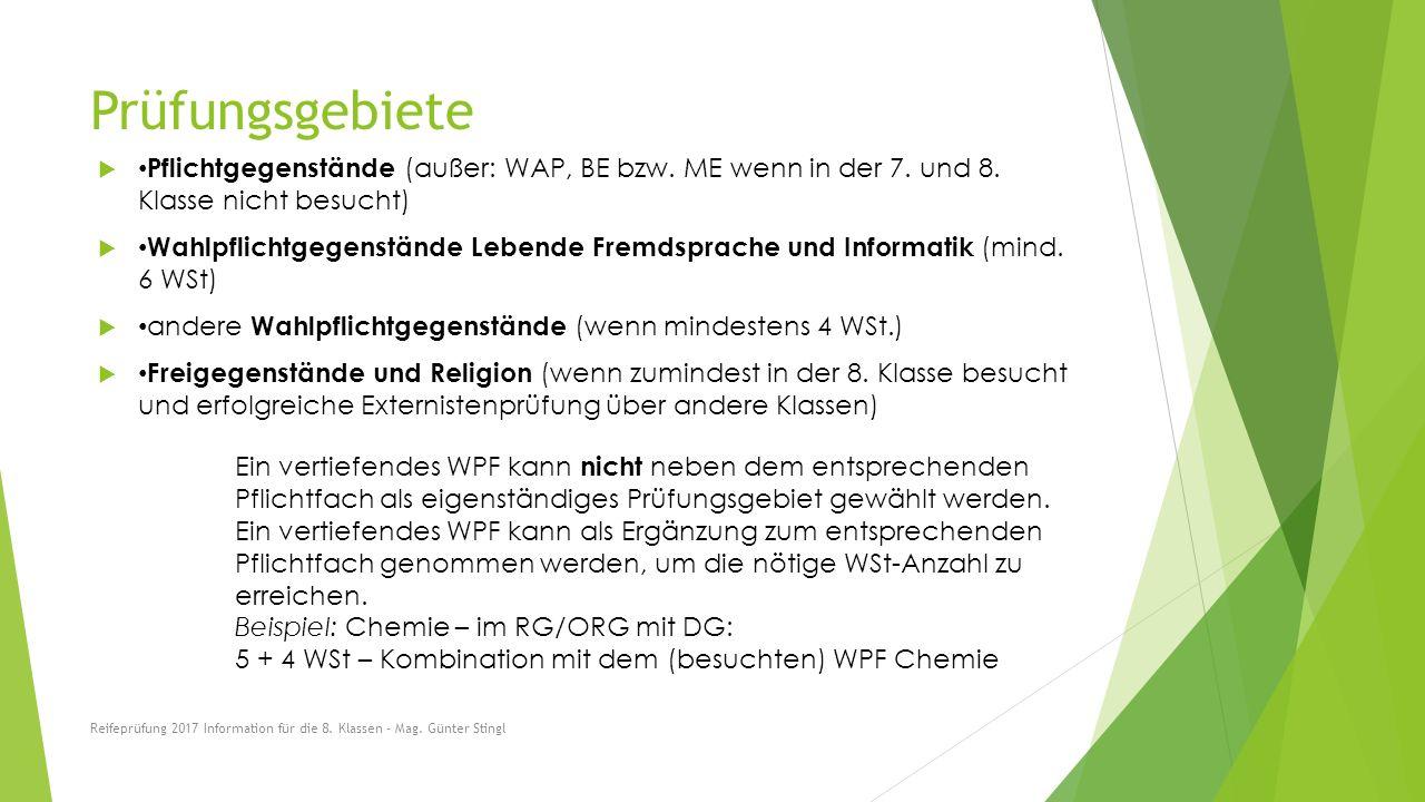 Prüfungsgebiete  Pflichtgegenstände (außer: WAP, BE bzw.