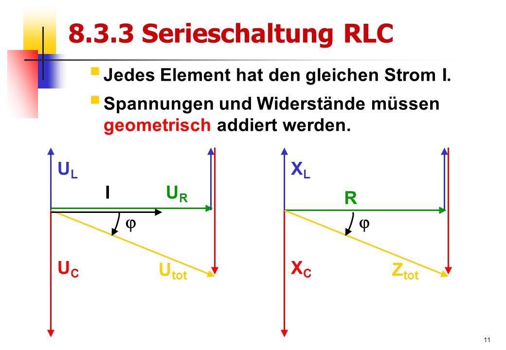11 8.3.3 Serieschaltung RLC  Jedes Element hat den gleichen Strom I.