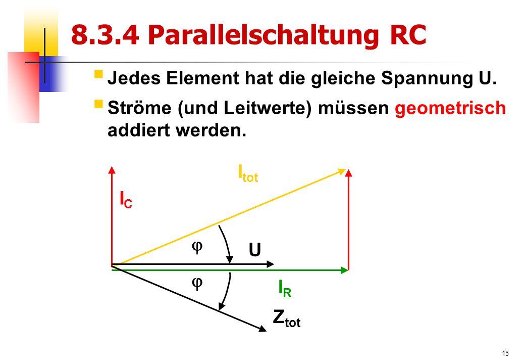 15 8.3.4 Parallelschaltung RC  Jedes Element hat die gleiche Spannung U.