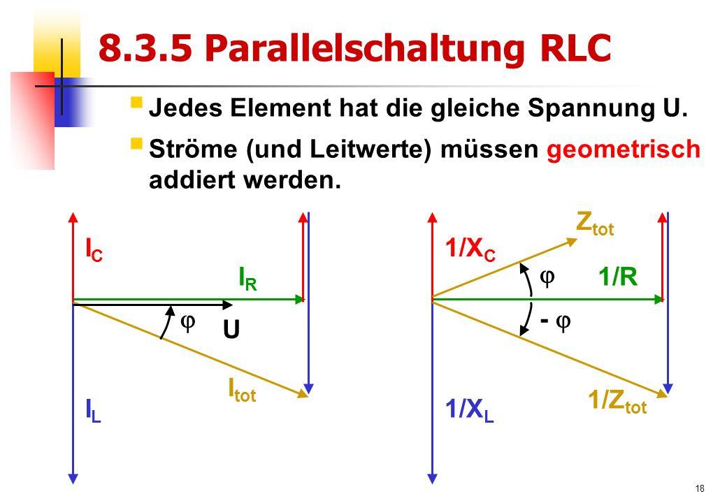 18 8.3.5 Parallelschaltung RLC  Jedes Element hat die gleiche Spannung U.