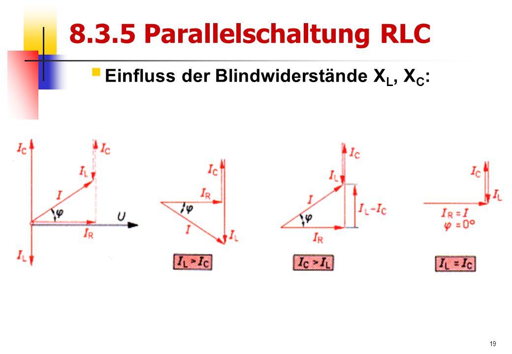 19 8.3.5 Parallelschaltung RLC  Einfluss der Blindwiderstände X L, X C :
