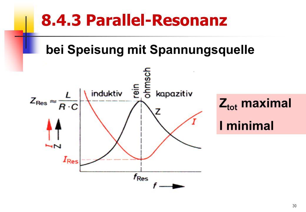30 8.4.3 Parallel-Resonanz Z tot maximal I minimal bei Speisung mit Spannungsquelle