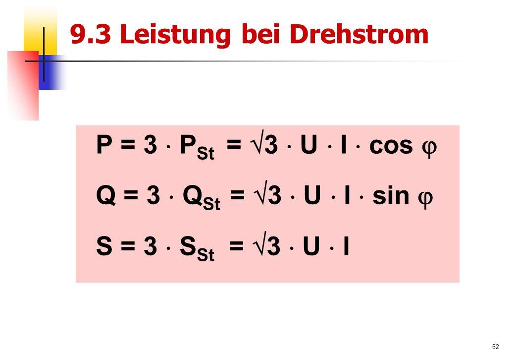62 9.3 Leistung bei Drehstrom P = 3  P St =  3  U  I  cos  Q = 3  Q St =  3  U  I  sin  S = 3  S St =  3  U  I