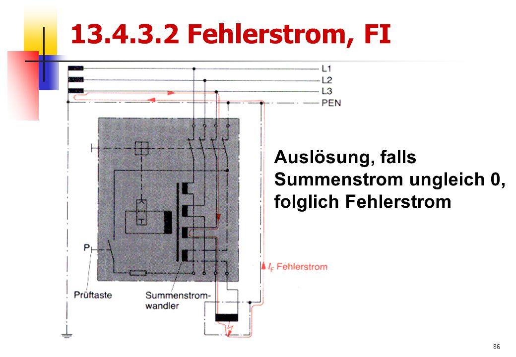 86 13.4.3.2 Fehlerstrom, FI Auslösung, falls Summenstrom ungleich 0, folglich Fehlerstrom