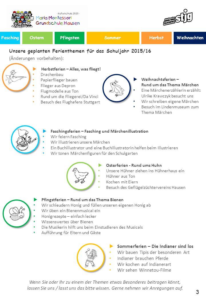 Herbst 3 Unsere geplanten Ferienthemen für das Schuljahr 2015/16 (Änderungen vorbehalten): Wenn Sie oder Ihr zu einem der Themen etwas Besonderes beitragen könnt, lassen Sie uns / lasst uns das bitte wissen.