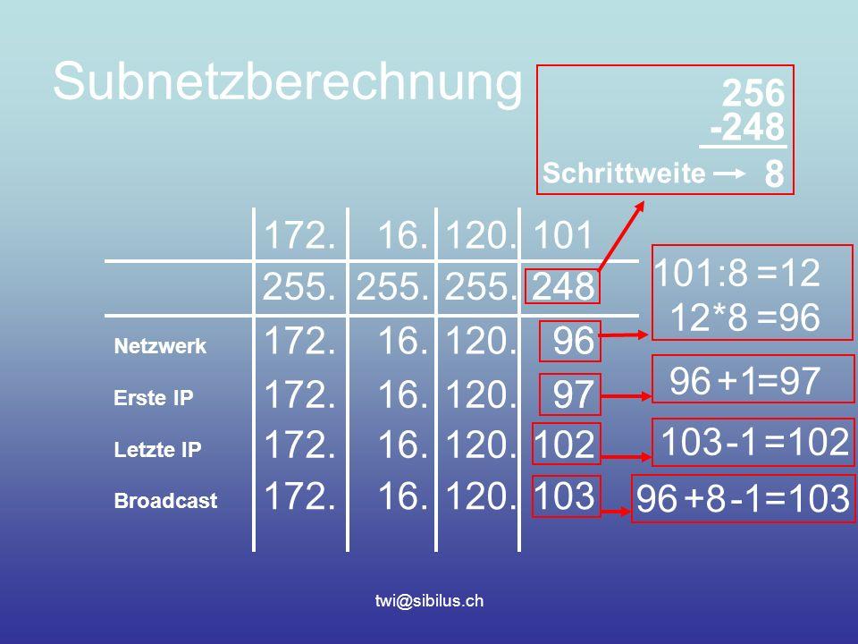 twi@sibilus.ch Subnetzberechnung 172.16.120.101 255.