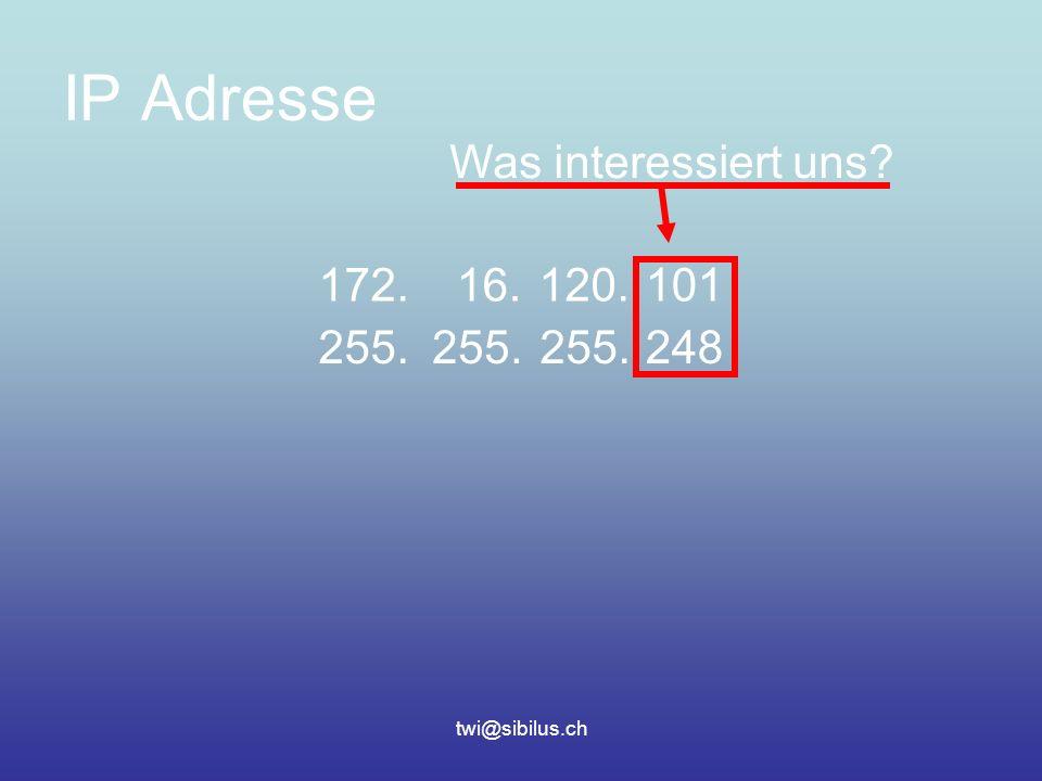 twi@sibilus.ch IP Adresse 172.16.120.101 255. 248 Was interessiert uns