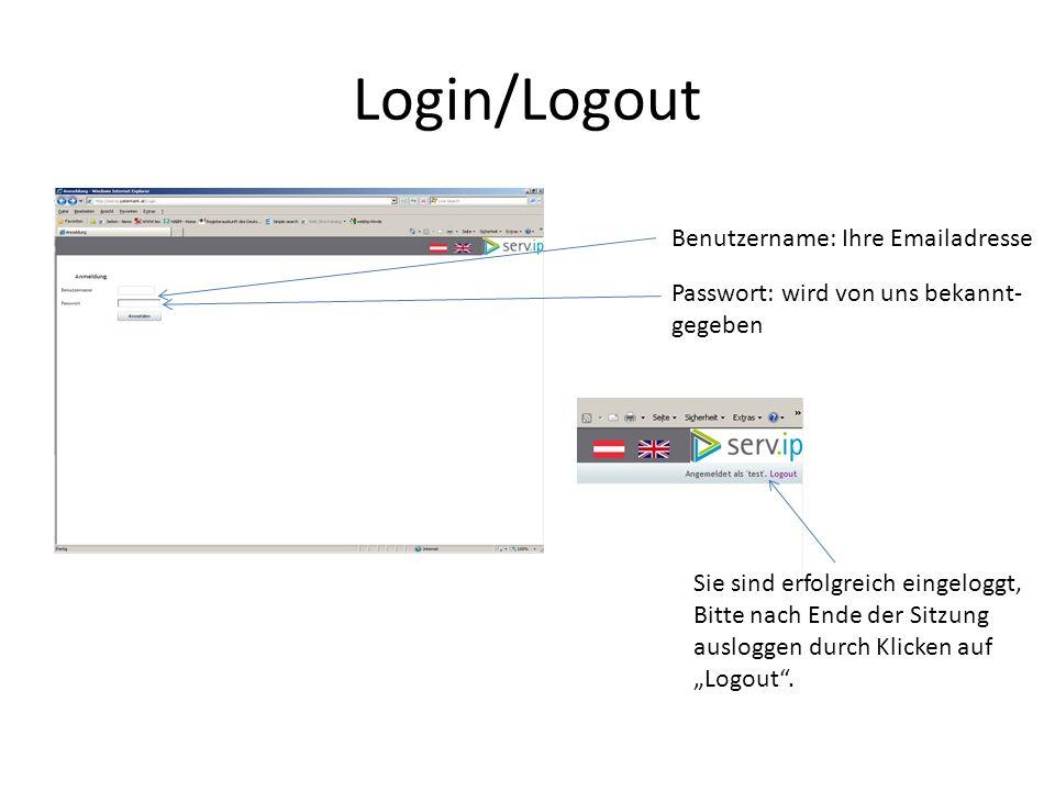 """Login/Logout Benutzername: Ihre Emailadresse Passwort: wird von uns bekannt- gegeben Sie sind erfolgreich eingeloggt, Bitte nach Ende der Sitzung ausloggen durch Klicken auf """"Logout ."""