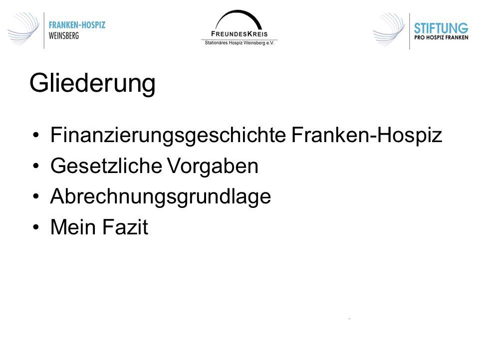 Gliederung Finanzierungsgeschichte Franken-Hospiz Gesetzliche Vorgaben Abrechnungsgrundlage Mein Fazit
