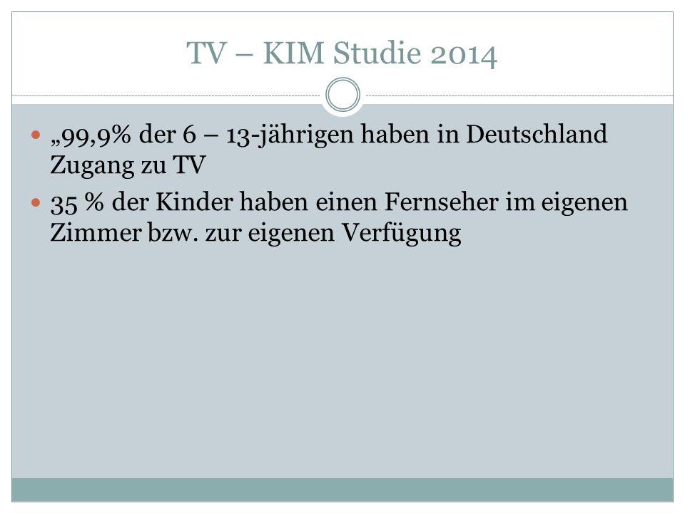 """TV – KIM Studie 2014 """"99,9% der 6 – 13-jährigen haben in Deutschland Zugang zu TV 35 % der Kinder haben einen Fernseher im eigenen Zimmer bzw."""