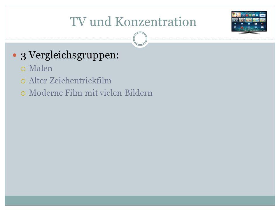 TV und Konzentration 3 Vergleichsgruppen:  Malen  Alter Zeichentrickfilm  Moderne Film mit vielen Bildern