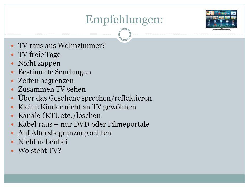 Empfehlungen: TV raus aus Wohnzimmer.