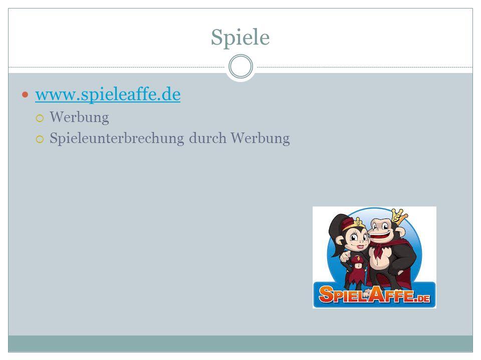 Spiele www.spieleaffe.de  Werbung  Spieleunterbrechung durch Werbung