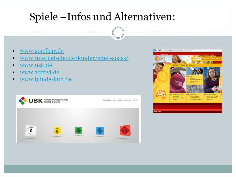 www.spielbar.de www.internet-abc.de/kinder/spiel-spass/ www.usk.de www.zdftivi.de www.blinde-kuh.de Spiele –Infos und Alternativen: