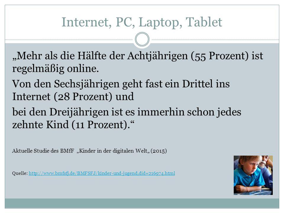 """Internet, PC, Laptop, Tablet """"Mehr als die Hälfte der Achtjährigen (55 Prozent) ist regelmäßig online."""