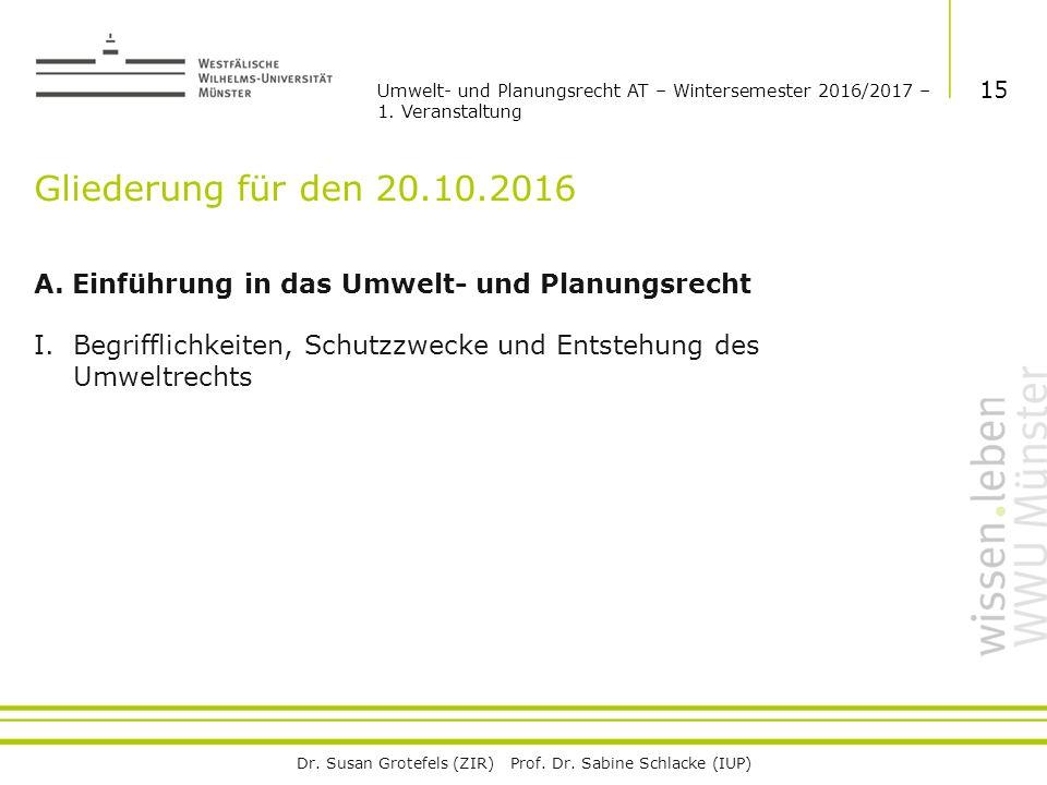 Dr. Susan Grotefels (ZIR) Prof. Dr. Sabine Schlacke (IUP) Gliederung für den 20.10.2016 A.