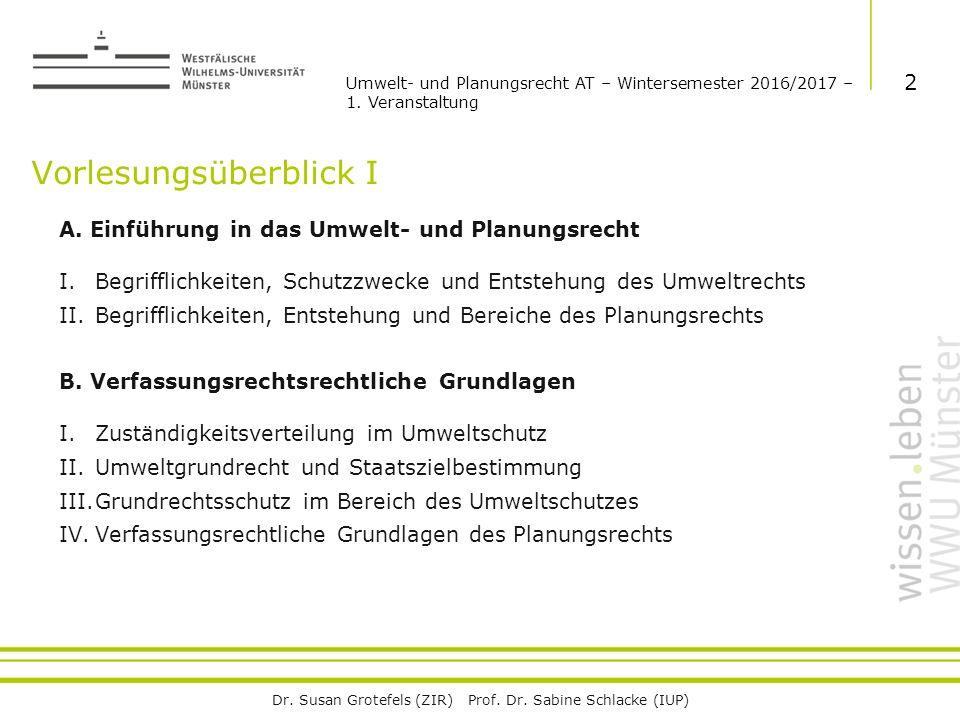 Dr. Susan Grotefels (ZIR) Prof. Dr. Sabine Schlacke (IUP) Vorlesungsüberblick I A.