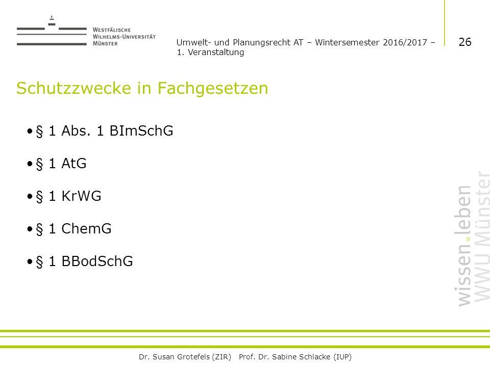 Dr. Susan Grotefels (ZIR) Prof. Dr. Sabine Schlacke (IUP) Schutzzwecke in Fachgesetzen § 1 Abs.
