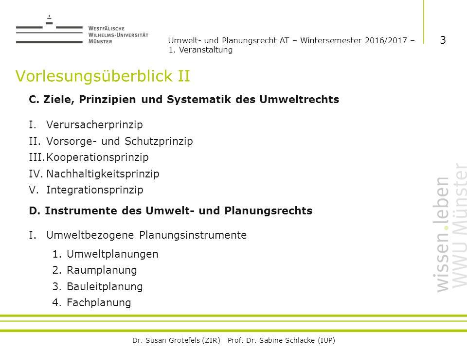 Dr. Susan Grotefels (ZIR) Prof. Dr. Sabine Schlacke (IUP) Vorlesungsüberblick II C.