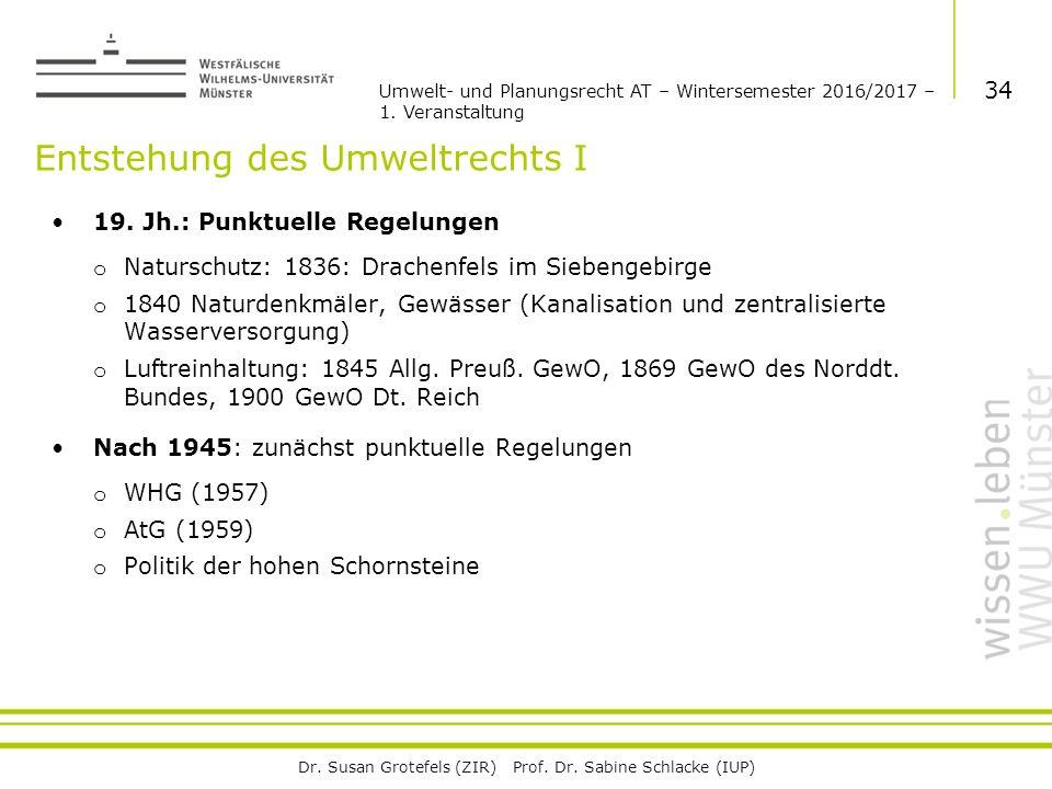 Dr. Susan Grotefels (ZIR) Prof. Dr. Sabine Schlacke (IUP) Entstehung des Umweltrechts I 19.