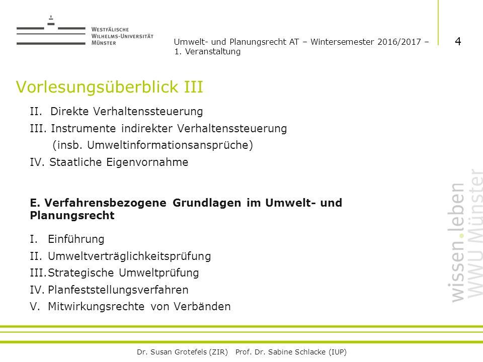 Dr. Susan Grotefels (ZIR) Prof. Dr. Sabine Schlacke (IUP) Vorlesungsüberblick III II.