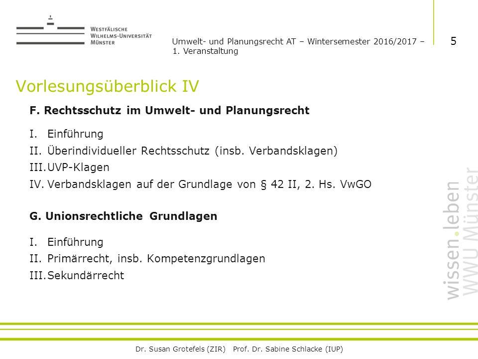 Dr. Susan Grotefels (ZIR) Prof. Dr. Sabine Schlacke (IUP) Vorlesungsüberblick IV F.