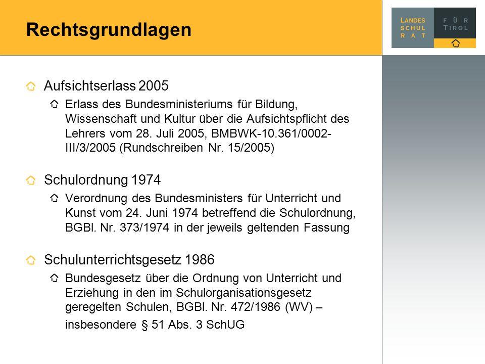Rechtsgrundlagen Aufsichtserlass 2005 Erlass des Bundesministeriums für Bildung, Wissenschaft und Kultur über die Aufsichtspflicht des Lehrers vom 28.