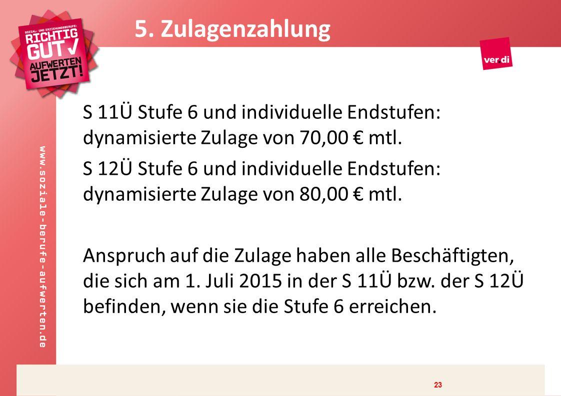S 11Ü Stufe 6 und individuelle Endstufen: dynamisierte Zulage von 70,00 € mtl.