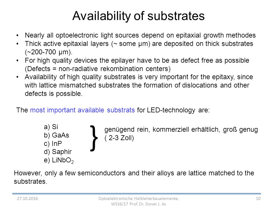 10 Availability of substrates Nearly all optoelectronic light sources depend on epitaxial growth methodes Thick active epitaxial layers (~ some µm) are deposited on thick substrates (~ µm).