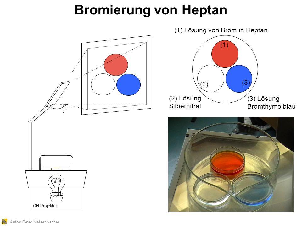 Autor: Peter Maisenbacher Bromierung von Heptan OH-Projektor (1) Lösung von Brom in Heptan (2) Lösung Silbernitrat (3) Lösung Bromthymolblau (1) (2) (3)