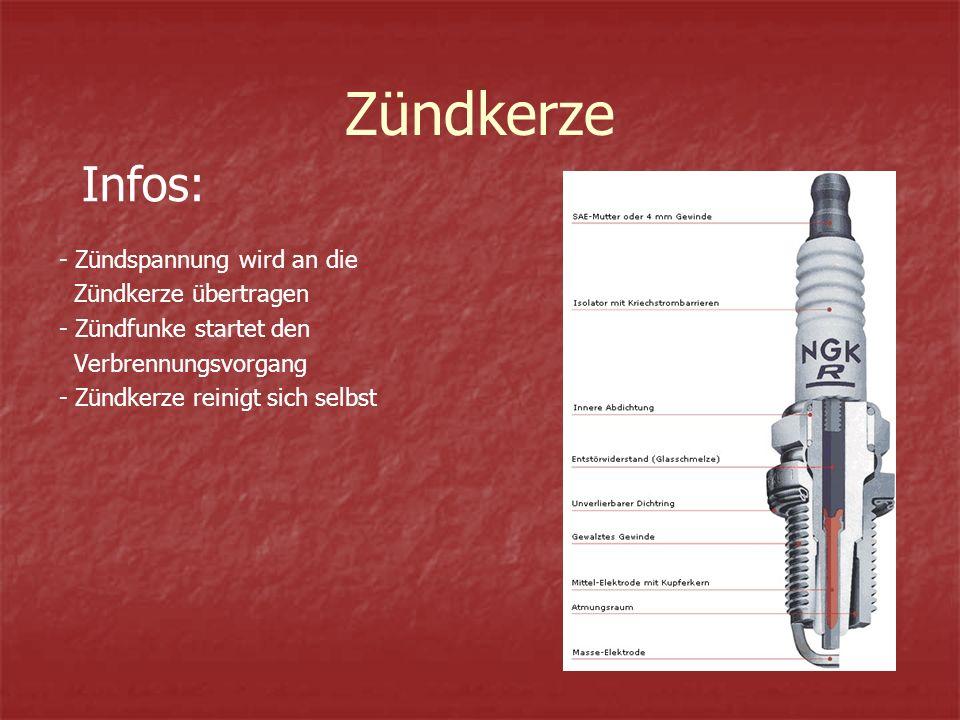 Zündkerze - Zündspannung wird an die Zündkerze übertragen - Zündfunke startet den Verbrennungsvorgang - Zündkerze reinigt sich selbst Infos: