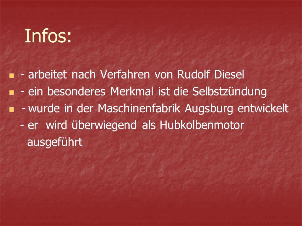 Infos: - arbeitet nach Verfahren von Rudolf Diesel - ein besonderes Merkmal ist die Selbstzündung - wurde in der Maschinenfabrik Augsburg entwickelt - er wird überwiegend als Hubkolbenmotor ausgeführt