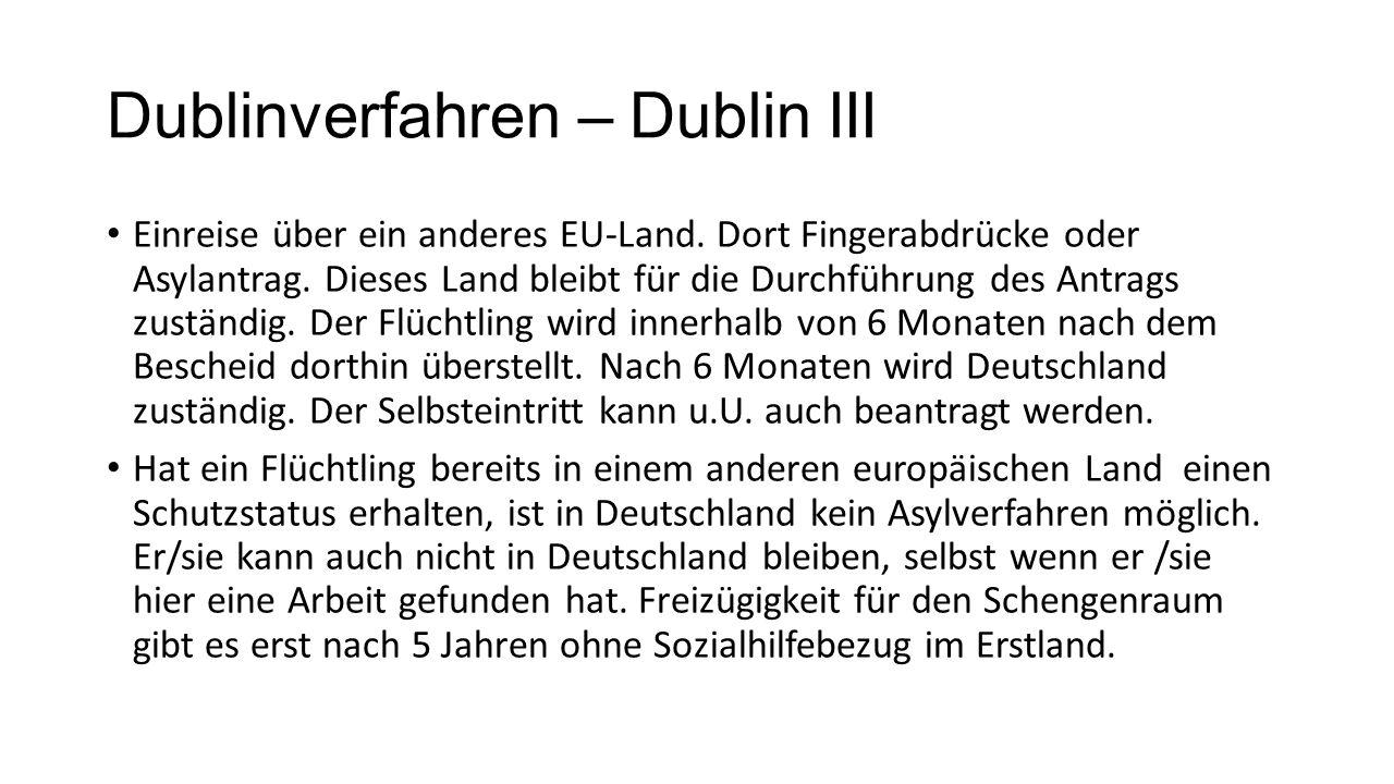 Dublinverfahren – Dublin III Einreise über ein anderes EU-Land.