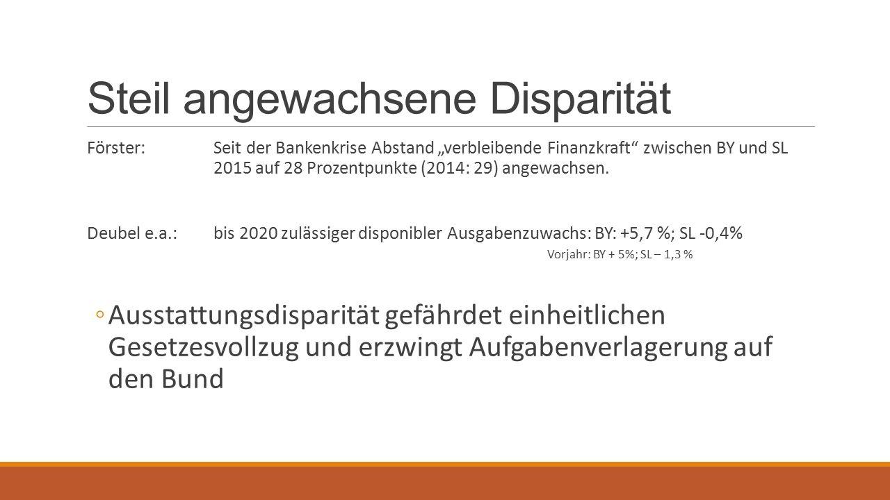 """Steil angewachsene Disparität Förster:Seit der Bankenkrise Abstand """"verbleibende Finanzkraft zwischen BY und SL 2015 auf 28 Prozentpunkte (2014: 29) angewachsen."""