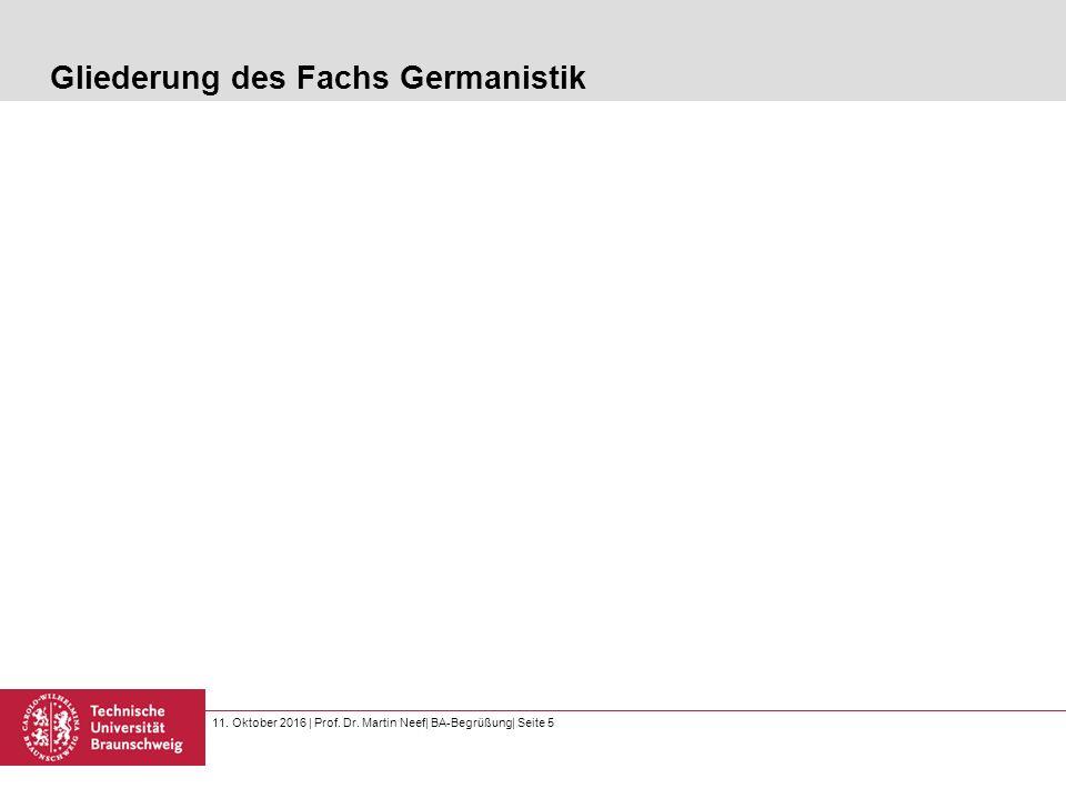 11. Oktober 2016   Prof. Dr. Martin Neef  BA-Begrüßung  Seite 5 Gliederung des Fachs Germanistik