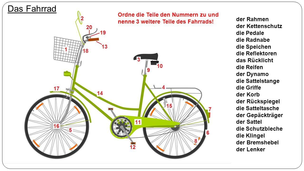 Das Fahrrad der Rahmen der Kettenschutz die Pedale die Radnabe die Speichen die Reflektoren das Rücklicht die Reifen der Dynamo die Sattelstange die Griffe der Korb der Rückspiegel die Satteltasche der Gepäckträger der Sattel die Schutzbleche die Klingel der Bremshebel der Lenker Ordne die Teile den Nummern zu und nenne 3 weitere Teile des Fahrrads!