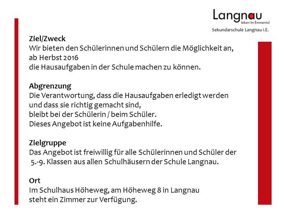 Erklärungen und Eckpunkte Auszug aus dem Hausaufgabenkonzept der Schule Langnau Die 8 Eckpfeiler unserer Hausaufgabenpraxis 3.