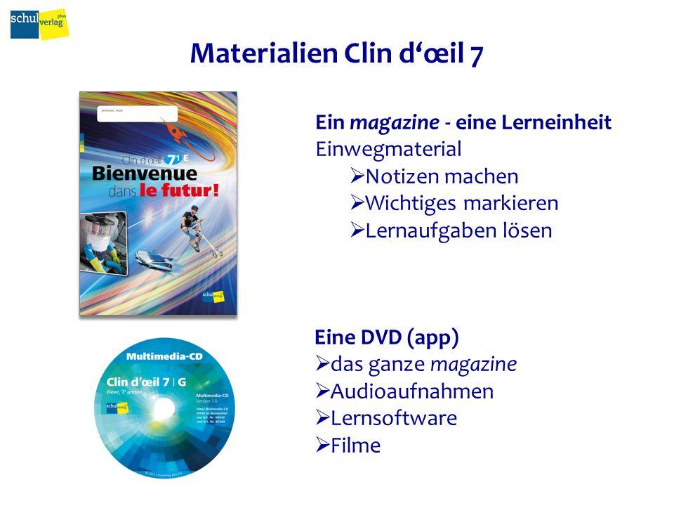 Materialien Clin d'œil 7 5 magazines 1 DVD (resp. app) 1 revue fichier (DVD / resp. app)