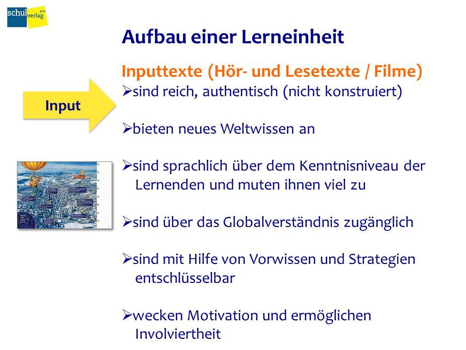 Aufbau einer Lerneinheit Input Tâche Activités A, B, C...