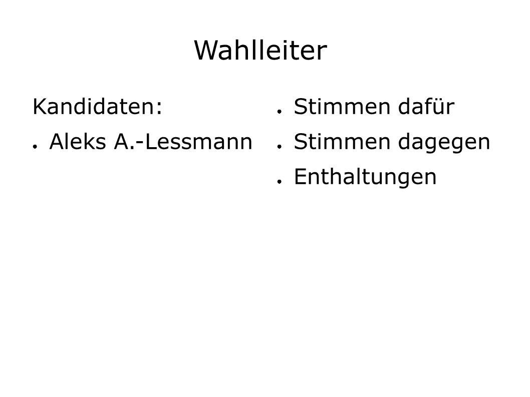 Wahlleiter Kandidaten: ● Aleks A.-Lessmann ● Stimmen dafür ● Stimmen dagegen ● Enthaltungen