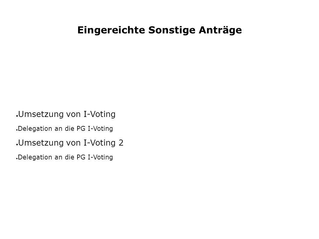 Eingereichte Sonstige Anträge ● Umsetzung von I-Voting ● Delegation an die PG I-Voting ● Umsetzung von I-Voting 2 ● Delegation an die PG I-Voting