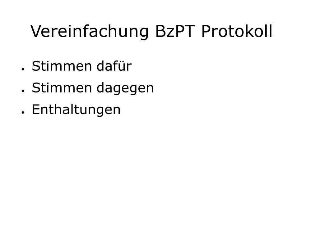 Vereinfachung BzPT Protokoll ● Stimmen dafür ● Stimmen dagegen ● Enthaltungen