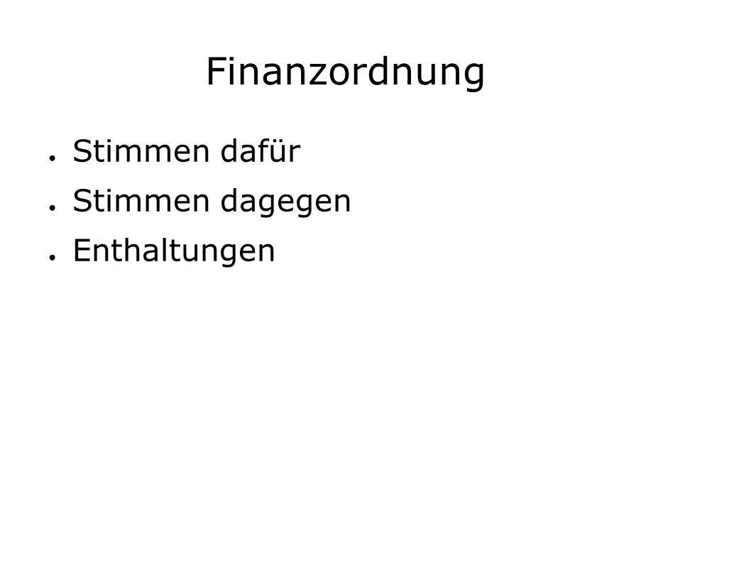 Finanzordnung ● Stimmen dafür ● Stimmen dagegen ● Enthaltungen