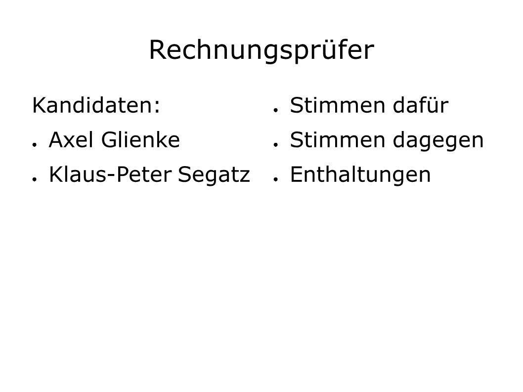Rechnungsprüfer Kandidaten: ● Axel Glienke ● Klaus-Peter Segatz ● Stimmen dafür ● Stimmen dagegen ● Enthaltungen