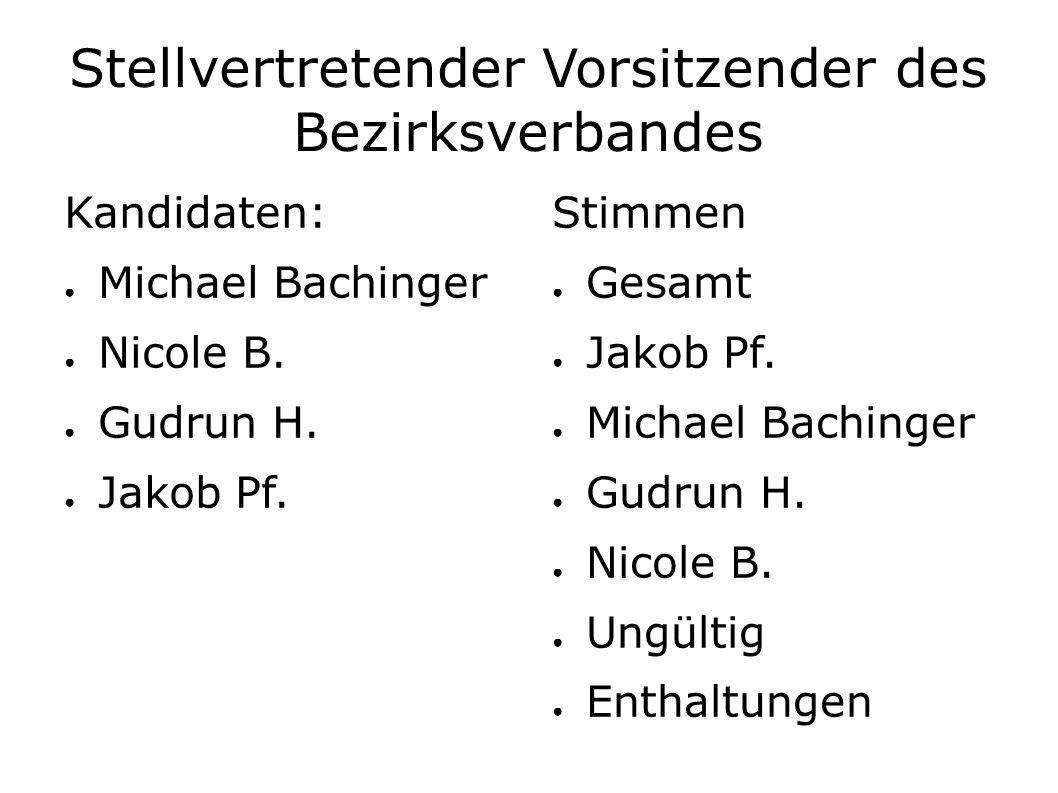 Stellvertretender Vorsitzender des Bezirksverbandes Kandidaten: ● Michael Bachinger ● Nicole B.