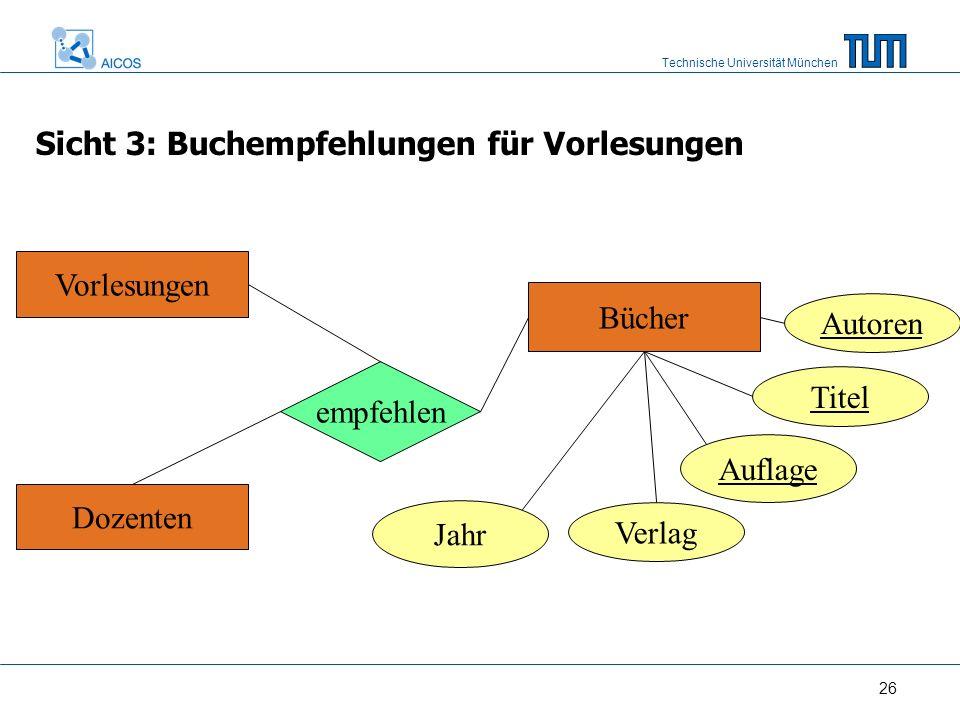 Technische Universität München 26 Vorlesungen Dozenten Bücher Titel Auflage Verlag empfehlen Autoren Sicht 3: Buchempfehlungen für Vorlesungen Jahr
